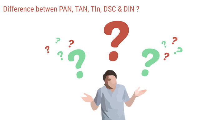 Difference between PAN, TAN, TIN, DSC, and DIN India
