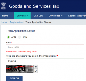 In the next page, provide the ARN and the captcha code. Click on 'Submit' to view the GST registration status.